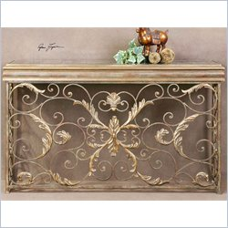 Uttermost Valonia Embossed Metal Console Table in Antiqued Gold