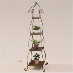 Uttermost Lilah Etagere in Lightly Burnished Silver Leaf
