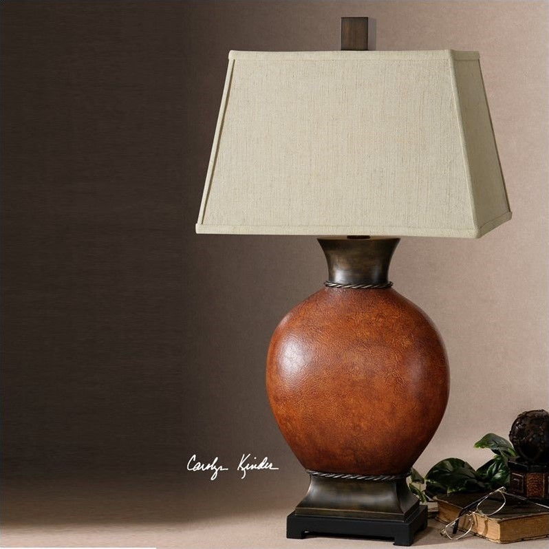 Uttermost Suri Crackled Ceramic Table Lamp in Burnished Dark Red