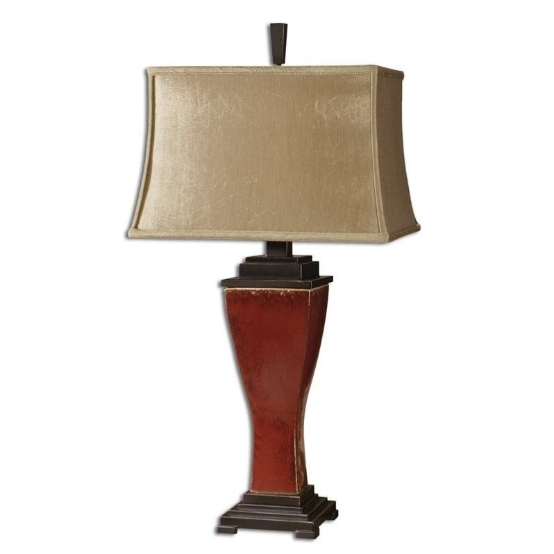 Uttermost Abiona Table Lamp in Distressed Burnished Red Glaze