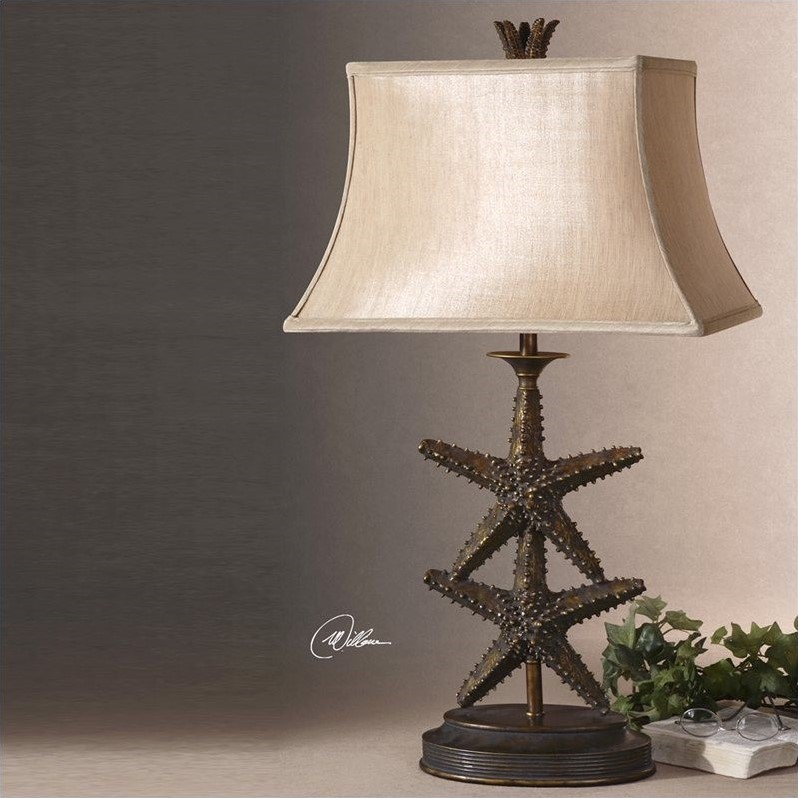 Uttermost Starfish Table Lamp in Antiqued Gold and Dark Gray