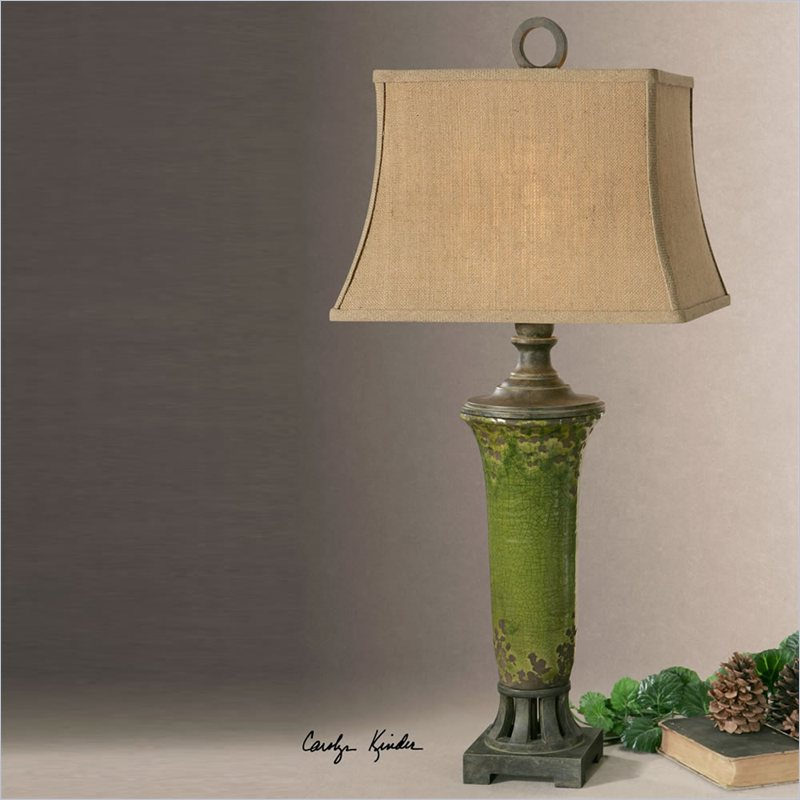 Aged Green Crackle Ribbed Table Lamp