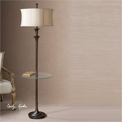 Uttermost Brazoria Glass End Table Floor Lamp in Oil Rubbed Bronze