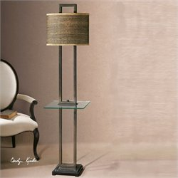 Uttermost Stabina Metal End Table Floor Lamp in Rustic Bronze