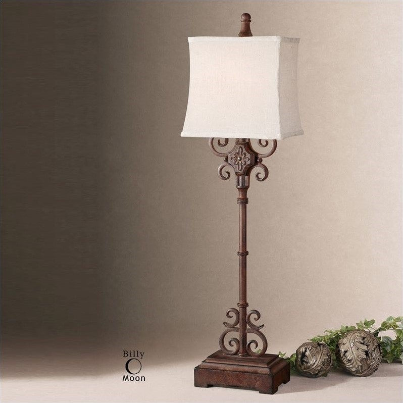 Uttermost Cubero Brown Buffet Lamp in Distressed Rust Brown