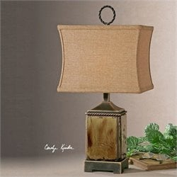 Uttermost Porano Distressed Porcelain Buffet Lamp in Mossy Green