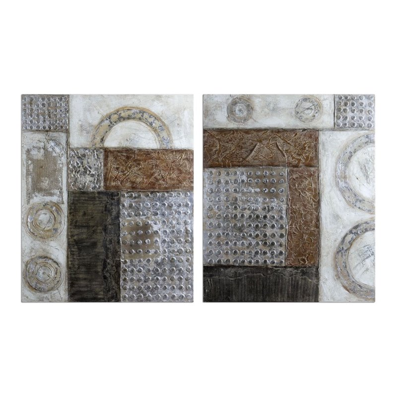 Uttermost Connection Hand Painted Canvas Modern Art (Set of 2)