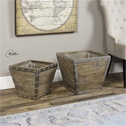 Uttermost Birtle Wood Containers (Set of 2)