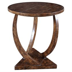 Uttermost Pandhari Round Accent Table in Honey Stain