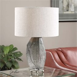 Uttermost Stazzona Crackled Gray Glass Lamp
