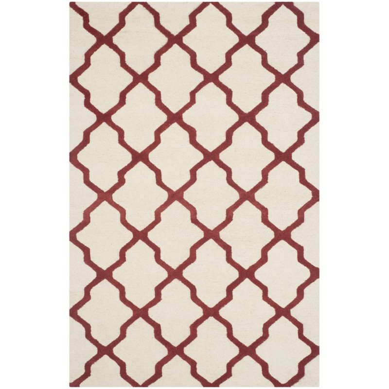 Safavieh Cambridge 5' X 8' Hand Tufted Wool Rug in Ivory and Rust