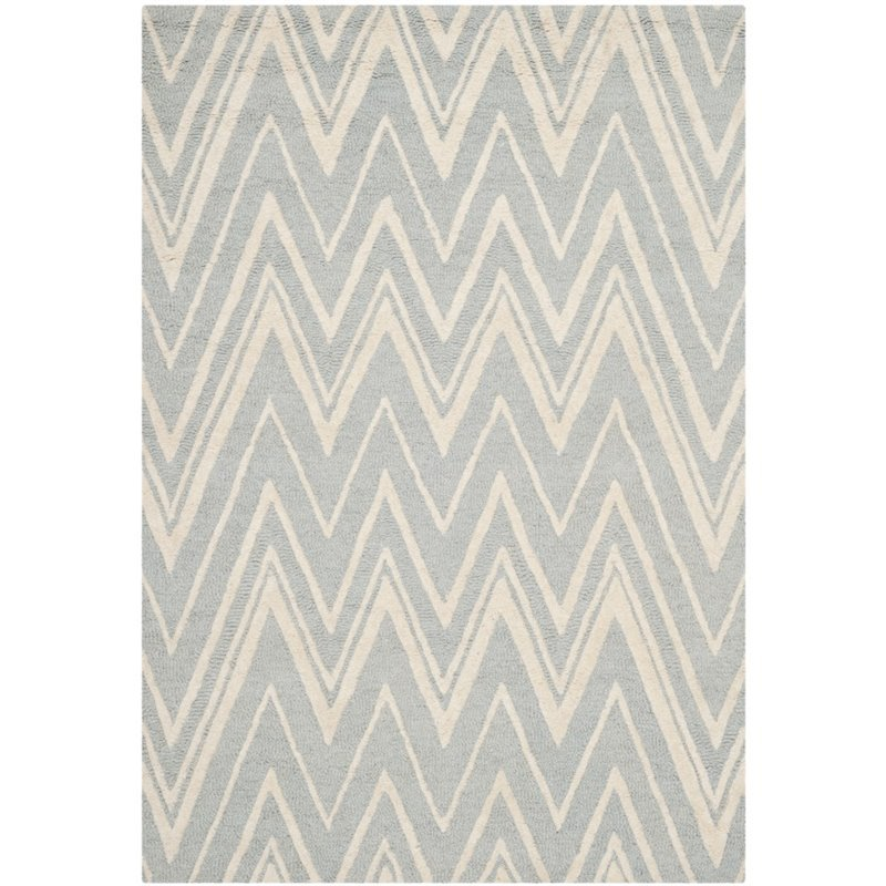 Safavieh Cambridge 4' X 6' Hand Tufted Wool Rug in Gray and Ivory