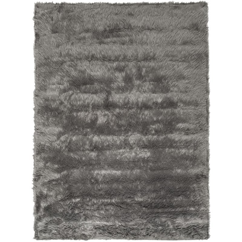 Safavieh Faux Sheep Skin 2' X 3' Power Loomed Acrylic Rug in Gray