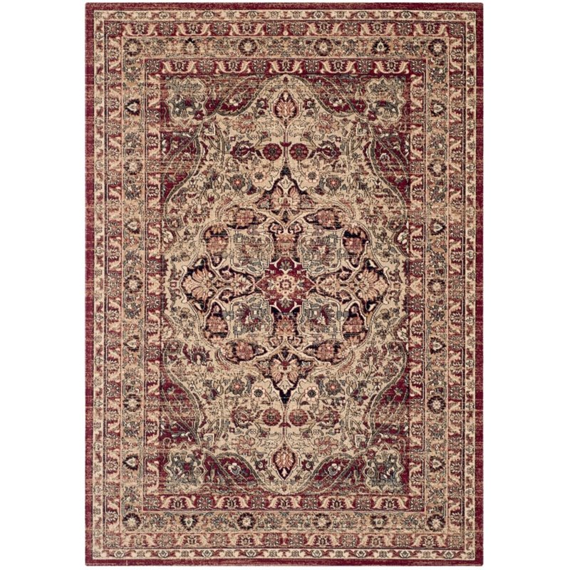 Safavieh Lavar Kerman 8' X 10' Power Loomed Rug in Creme and Red