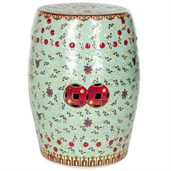Safavieh Ceramic Chinese Floral Stool in Red and Green