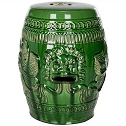 Safavieh Ceramic Chinese Dragon Stool in Green