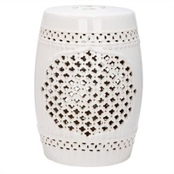 Safavieh Quatrefoil Ceramic Garden Stool in Cream