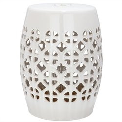 Safavieh Circle Lattice Ceramic Garden Stool in Cream