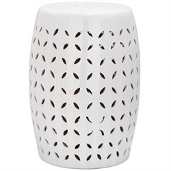 Safavieh Lattice Petal Ceramic Garden Stool in White