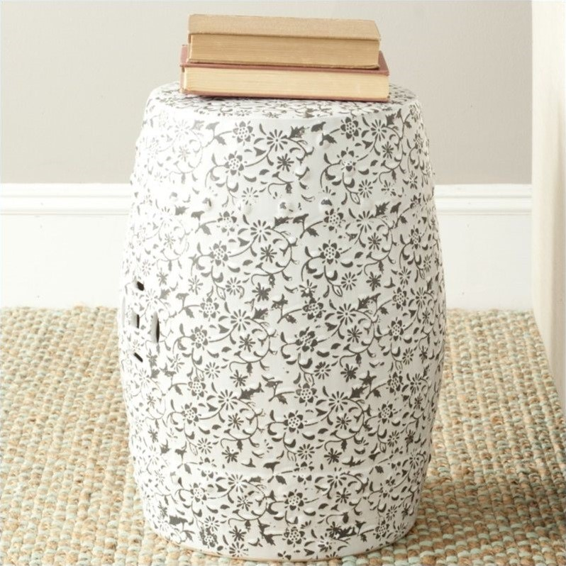 Safavieh Ceramic Garden Stool with Flower and Vine Design