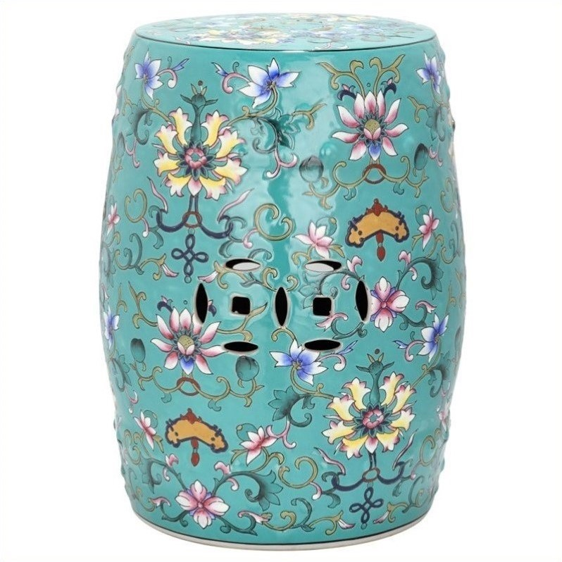 Safavieh Ceramic Garden Stool with Water Lily Pattern