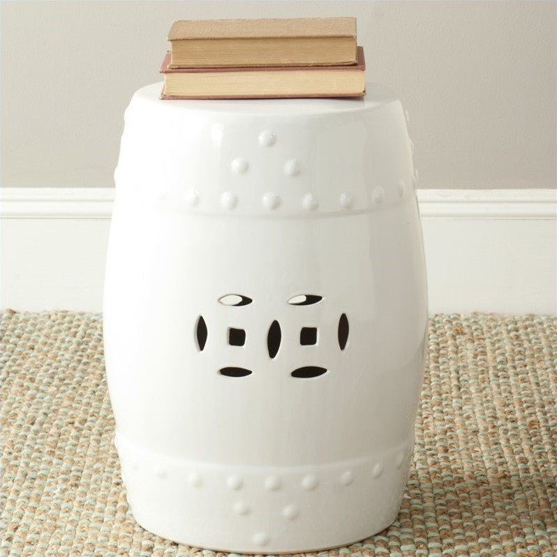 Safavieh Modern Ming Ceramic Garden Stool in White