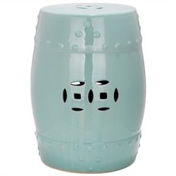 Safavieh Modern Ming Ceramic Garden Stool in Light Aqua
