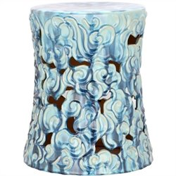 Safavieh Ceramic Garden Stool in Ocean Blue