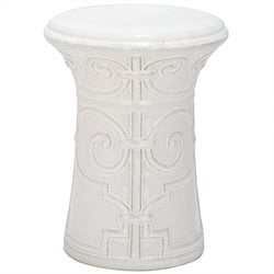 Safavieh Imperial Scroll Ceramic Garden Stool in White