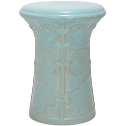 Safavieh Imperial Scroll Ceramic Garden Stool in Light Aqua