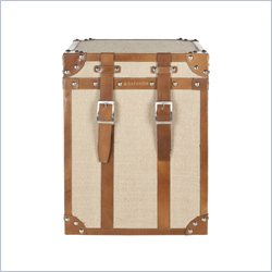 Safavieh Alex Leather Strap Assorted Color Square Trunk in Light Brown