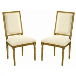 Safavieh Antiqued Fairfax Oak Side Chair in Oak and Cream (Set of 2)
