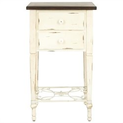 Safavieh Monica Two-drawer Antique Beech Side Table in White and Dark Brown