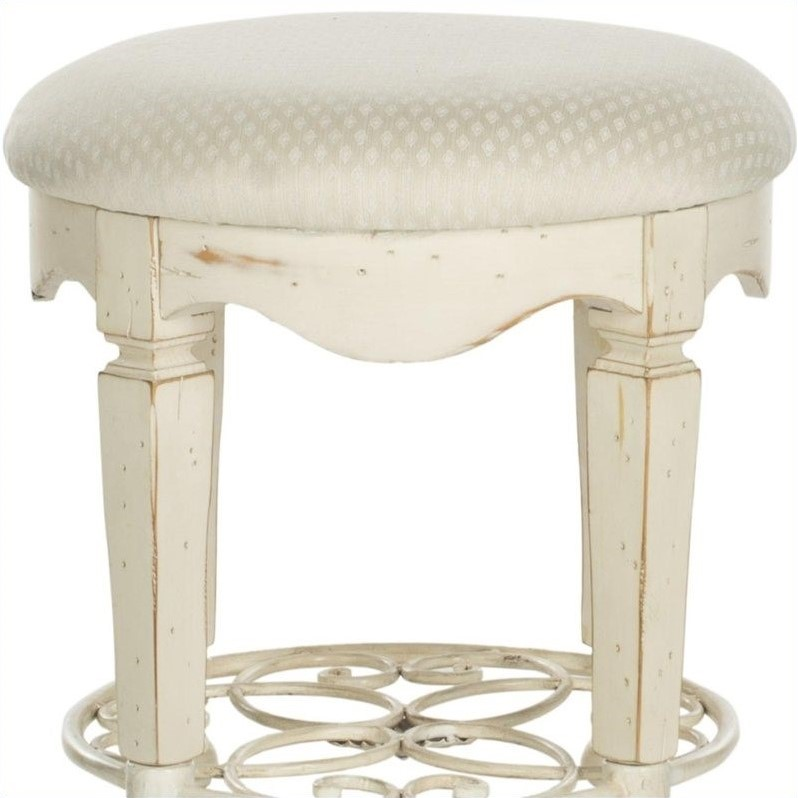 Safavieh Melissa Antique Vanity Stool In White Amh4007a