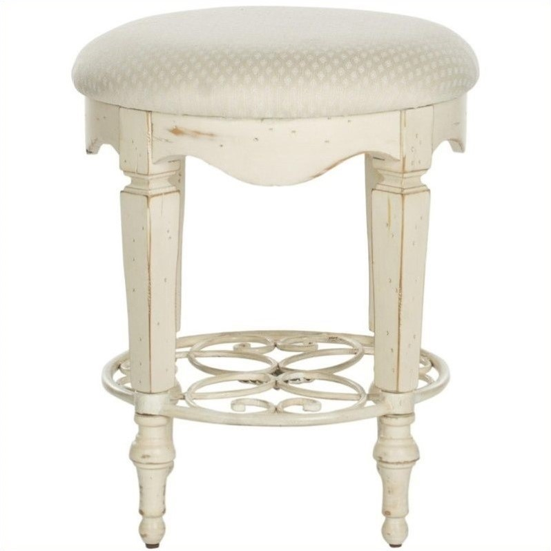 Safavieh Melissa Antique Vanity Stool in White - Safavieh Melissa Antique Vanity Stool In White - AMH4007A