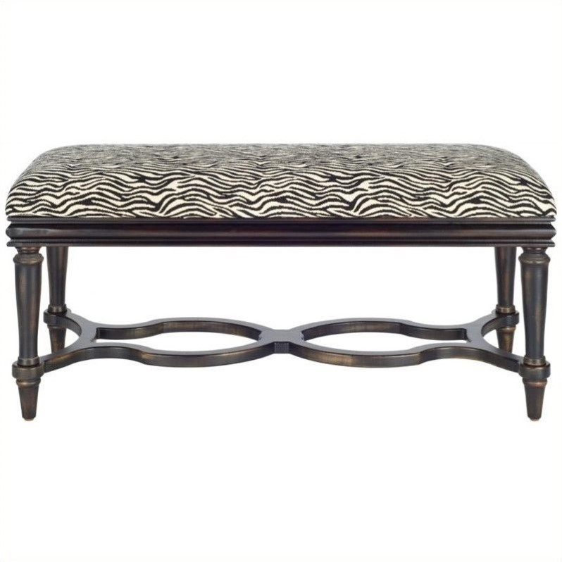 Safavieh Garret Zebra Wood Bench in Black and Zebra