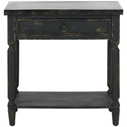 Safavieh John Fir Wood Side Table in Antique Black