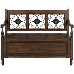 Safavieh Erica Birch Wood Storage Bench in Dark Brown