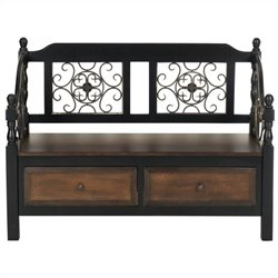 Safavieh Eric Birch Wood Storage Bench in Dark Brown