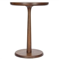 Safavieh Johnny Bayur Wood Round End Table in Brown