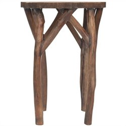 Safavieh Calvin Bayur Wood Round End Table in Dark Brown