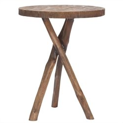 Safavieh Jude Bayur Wood Tripod Round End Table in Brown