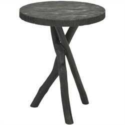 Safavieh Jude Bayur Wood Tripod Round End Table in Black
