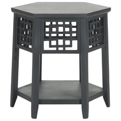 Safavieh Zelda Bayur Wood End Table in Charcoal Grey