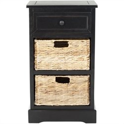 Safavieh Milan Distressed Side Storage Side Table in Black