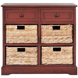 Safavieh Herman Pine Wood Storage Unit in Red