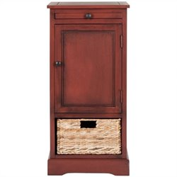 Safavieh Raven Pine Wood Tall Storage Unit in Red