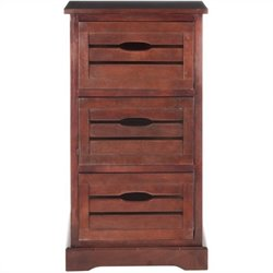 Safavieh Samara Pine 3 Drawer Cabinet in Cherry