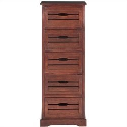 Safavieh Sarina Pine 5 Drawer Cabinet in Cherry