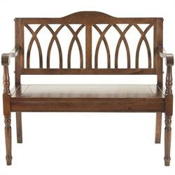 Safavieh Benjamin Pine Bench in Dark Walnut